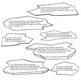 Set of hand-drawn black and white doodle speech bubble Stock Images