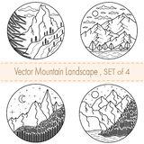 Set of 4 hand drawn black and white illustrations.Mountain landscapes with tress,clouds,river,moon stock illustration