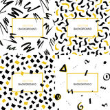 Set of hand drawn black and yellow abstract backgrounds with brush strokes and geometric shapes made in brush style and copy space Royalty Free Stock Photos