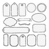 Set of hand drawn blank vintage frames, tags, labels  Stock Photos