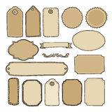 Set of hand drawn blank vintage frames, tags, labels.  s, doodle objects. Royalty Free Stock Photos
