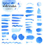 Set of hand drawn blue watercolor elements Stock Photo