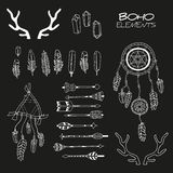 Set of Hand Drawn Boho Elements royalty free illustration