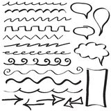 Set of hand drawn border lines Stock Photos