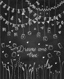 Set of hand drawn borders,garlands, jars, flowers. Stock Photography