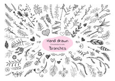 Set of hand drawn branches, hearts and arrows Vector Illustration