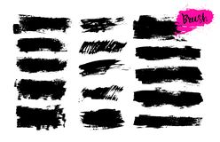 Set of hand drawn brush strokes, stains for backdrops. Monochrome design elements. Black monochrome artistic hand drawn. Backgrounds. Vector illustration stock illustration