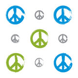 Set of hand drawn brushed colorful vector peace icons Stock Photography