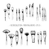 Set of hand-drawn brushes for painting Stock Image