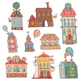 Set of hand drawn buildings in vintage style. Royalty Free Stock Photo