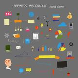Set of hand drawn business concepts icons stock illustration