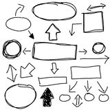 Set of hand drawn business elements,  Royalty Free Stock Photos