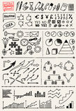 Set of Hand Drawn Business Elements. Set of hand drawn business infographic elements: charts, graphics and icons Stock Photo