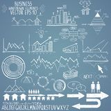 Set of hand drawn business finance elements vector. Illustration on white background Stock Photography