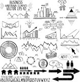 Set of hand drawn business finance elements vector. Illustration on white background Royalty Free Stock Photo