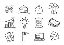 Set of hand drawn business icons isolated on white background vector illustration