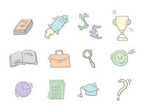 Set of Hand drawn business icons. Hand drawn sketch with business icons. Colorful doodle vector illustration Stock Image
