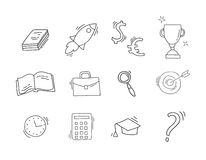 Set of Hand drawn business icons. Hand drawn sketch with business icons isolated on white. Doodle vector illustration Stock Photography