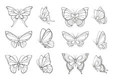 Set of hand drawn  butterflies Stock Photography