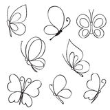 Set of hand drawn butterflies Stock Images