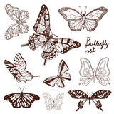 Set of hand drawn butterflies. Royalty Free Stock Photo