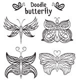 Set of hand drawn butterfly with boho pattern. Stock Image