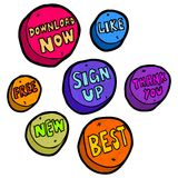 Set of hand drawn buttons. Vector. Stock Photos