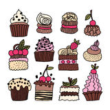 Set of hand drawn cakes, desserts Stock Photography