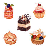 Set of hand drawn cakes with watercolor texture. Stock Image