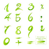Set hand-drawn calligraphy numbers and symbols. Watercolor. Stock Photo