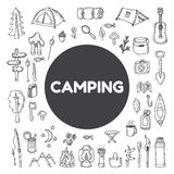 Set of hand drawn camping and hiking equipment.  Hike icons. Tra Royalty Free Stock Photo