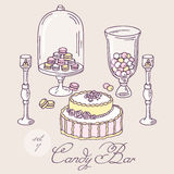Set of hand drawn candy bar objects. Bakery goods Royalty Free Stock Photography