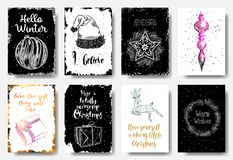 Set of 8 hand drawn cards. Christmas Posters set. Hello Winter, stock illustration