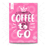Set of hand drawn, cards, posters. Hand drawn, card poster. Coffee to go, best choice, heart, crown. Lettering, retro background Sketch style vector Stock Photography