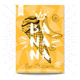 Set of hand drawn, cards, posters. Hand drawn card poster. Ice cream, banana, slice, best choice, heart, crown. Lettering retro background. Sketch style vector Royalty Free Stock Photos