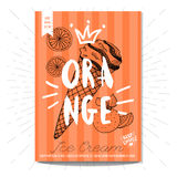 Set of hand drawn, cards, posters. Hand drawn card poster. Ice cream, orange, best choice, heart, crown. Lettering, retro background Sketch style vector Royalty Free Stock Photography