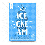 Set of hand drawn, cards, posters. Hand drawn card poster. Ice cream, sweet, best choice, heart, crown. Lettering, retro background Sketch style vector Stock Photos