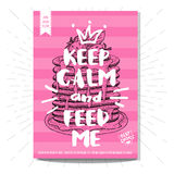 Set of hand drawn, cards, posters. Hand drawn, card, poster. Keep calm and feed me, pancakes, best choice, heart, crown. Lettering, retro background Sketch style Royalty Free Stock Images