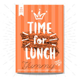 Set of hand drawn, cards, posters. Hand drawn, card poster. Time for lunch, yummy, sandwich, best choice, heart, crown Lettering retro background. Sketch style Royalty Free Stock Photography