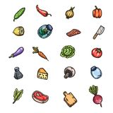 Set of hand drawn cartoon images of food and kitchen stuff. Vector isolated illustrations Royalty Free Stock Images