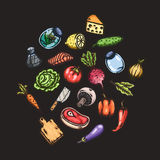 Set of hand drawn cartoon images of food and kitchen stuff. Stock Image