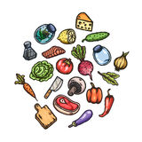 Set of hand drawn cartoon images of food and kitchen stuff. Stock Photo