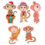 Set of hand-drawn cartoon monkeys Stock Images