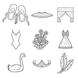 Set of hand drawn cartoon objects on ballet theme Royalty Free Stock Images