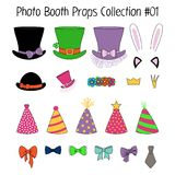 Photo booth props collection. Set of hand drawn cartoon photo booth props with top hats, party hats, cat and bunny ears, crowns, flower chain, bow ties. Isolated Stock Photo