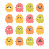 Set of hand drawn cartoon smiley monsters. Collection of differe. Nt cute and funny fluffy monsters characters. Vector illustration Royalty Free Stock Image