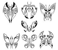 Set of Hand Drawn Cartoon Vector Butterfly Like Creatures in top. Set of seven cartoon vector hand drawn butterfly like creatures in top down view Stock Image