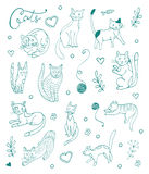 Set of hand drawn cats. Blue silhouettes on white. Illustration in vector format Stock Images