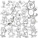 Set of hand drawn cats Stock Photos