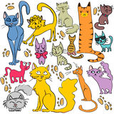 Set of hand drawn cats Royalty Free Stock Images